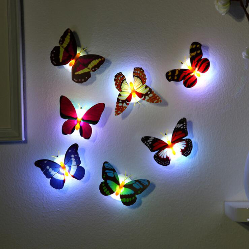 Newest Creative Colorful Butterfly LED Night Light Beautiful Home Bedroom Decorative Wall Night Lights Color RandomNewest Creative Colorful Butterfly LED Night Light Beautiful Home Bedroom Decorative Wall Night Lights Color Random