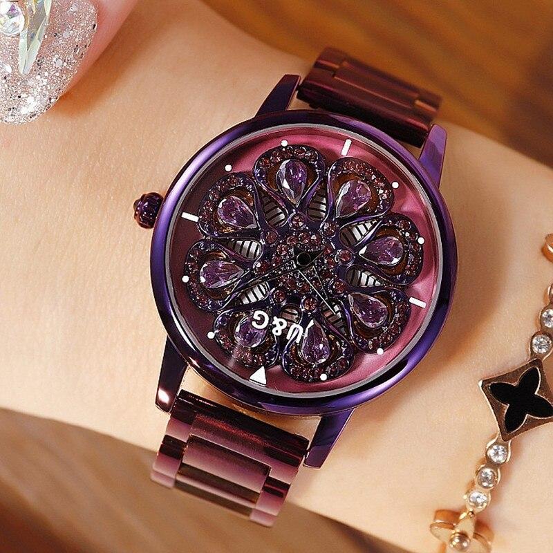 2019 Top marque femmes montre femmes en acier inoxydable montres dame brillant Rotation robe montres strass horloge montre femme
