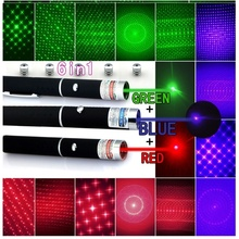 5-In-1 Red Green Purple Laser Pointer Pen + 5 Caps Starry Light Style Light Beam Lazer Pen Tactical Laser compact 4 in 1 red laser ball point pen led light retractable pointer silver 3 x lr41