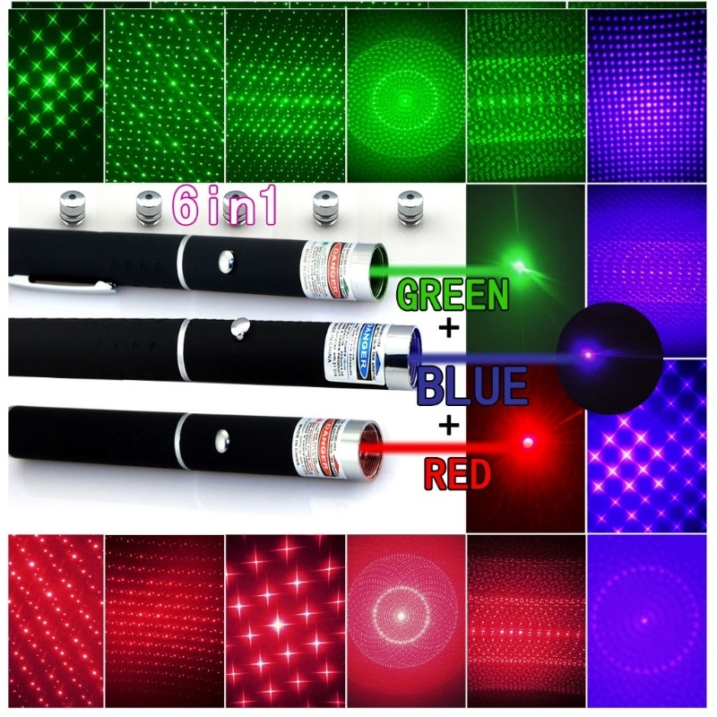 5-In-1 Red Green Purple Laser Pointer Pen + 5 Caps Starry Light Style Light Beam Lazer Pen Tactical Laser