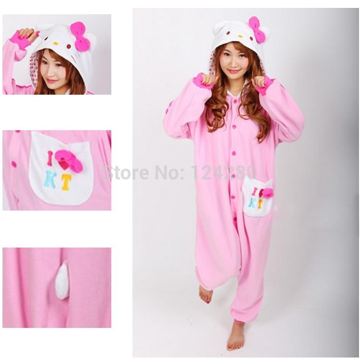 Japan Adult Women Hello kitty Cosplay Pajamas Girls Pink Animal Onesies costume Pyjamas Jumpsuit Sleepwear Party dress Halloween