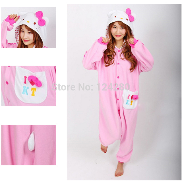 Japan Adult Women Hello kitty Cosplay Pajamas Girls Pink Animal Onesies  costume Pyjamas Jumpsuit Sleepwear Party dress Halloween f5282aed7f