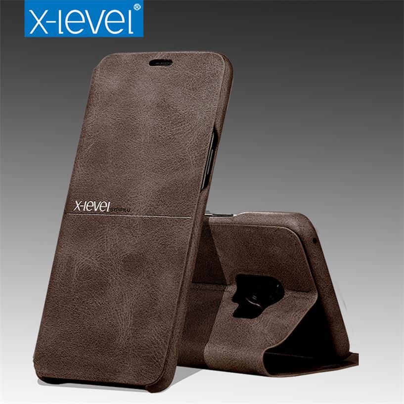 X-Niveau Étui En Cuir Pour Samsung Galaxy S9 D'origine Flip Stand D'affaires Complet Housse de Protection Pour Samsung S9 plus S9 +