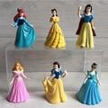 (6 unids/lote) Figura Princesa brillante Linda Princesa Ariel Cinderella blancanieves Belle Figura de Dibujos Animados Toy
