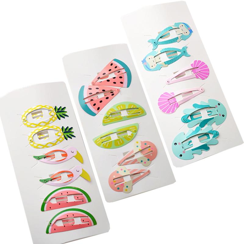 LOEEL 6Pcs/lot Kids Headwear Set New Children's Hairpins Girls BB Clips Female Headdress Mermaid Watermelon Pineapple Bobby Pins children fashion bobby pins hairpin headwear set 6pcs set girls cartoon hello kitty fox owl cat animal bb clips hair accessories