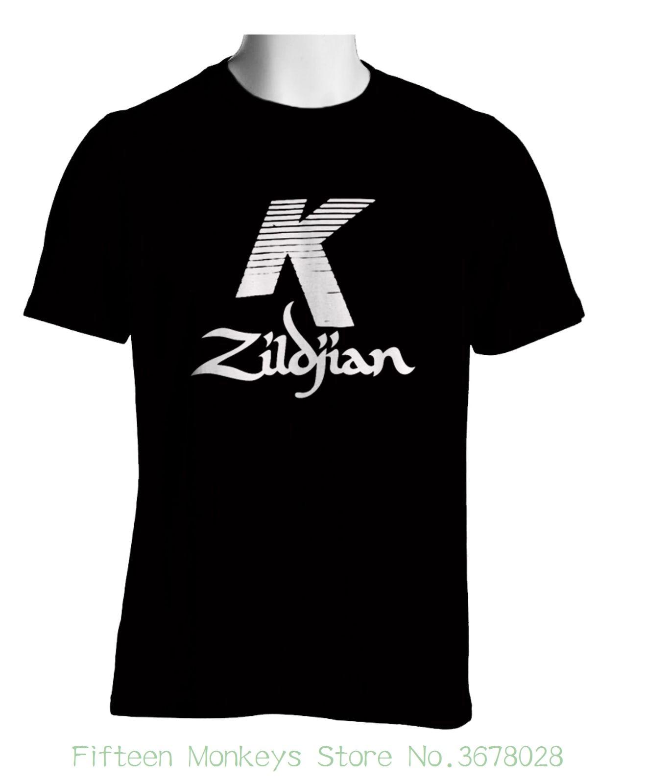 Casual Man Tees Mens Tops Zildjian K Percussion Drums Cymbal Logo Black T-shirt Mens Tshirt S To 3xl