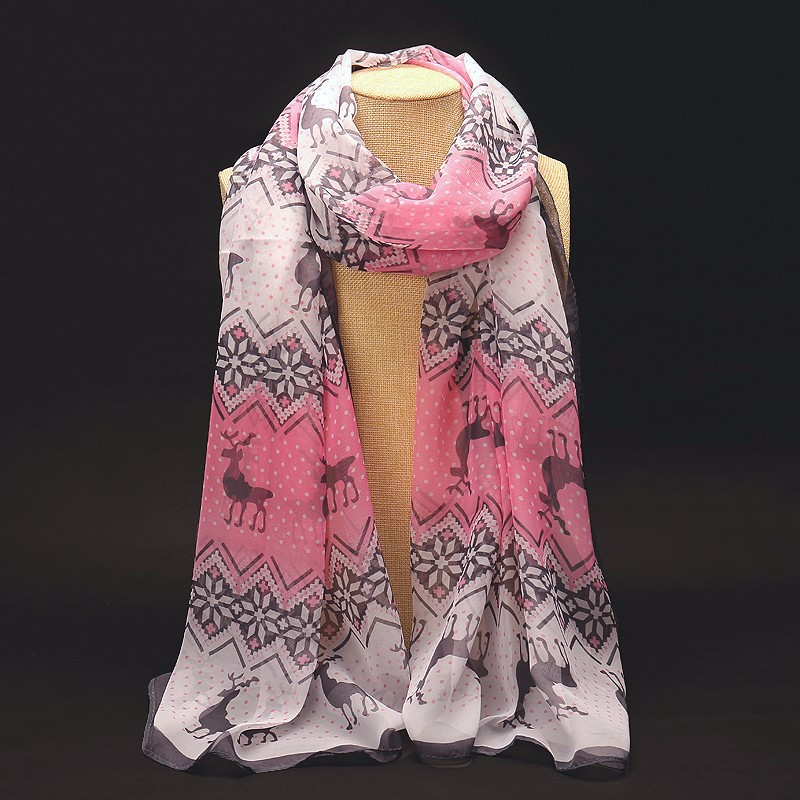 Deer Flowers Chiffon Scarf | Lightweight Scarves | Up to 60% Off Now