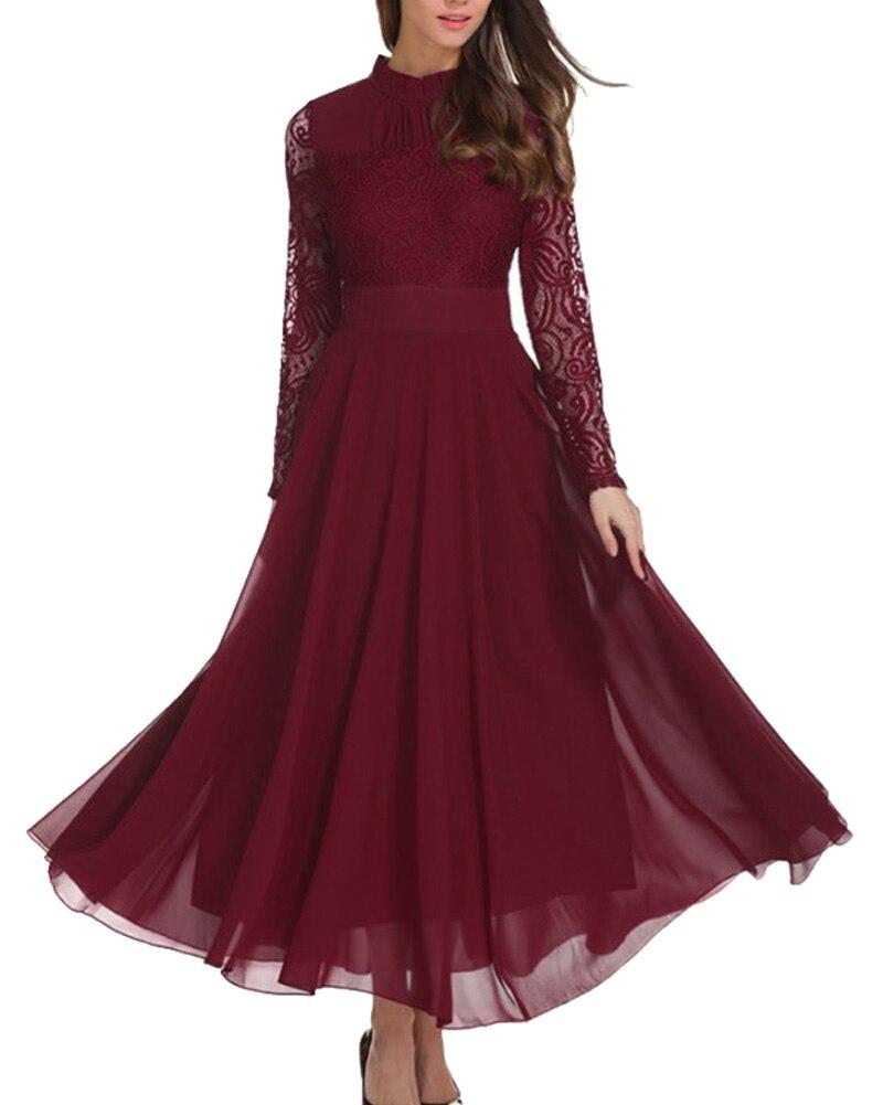 52e54d63204e8 Fashion Women Chiffon Dress Long Lace Sleeve Vestidos Wedding Sumner ...