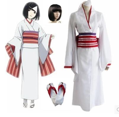 Free Shipping Anime Noragami Cosplay Costumes Nora Kimono Full Set (kimono+bow + belt+ armguard 2 )