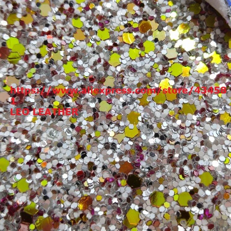Tissu en cuir de paillettes Chunky de couleur mélangée pour bricolage P1344