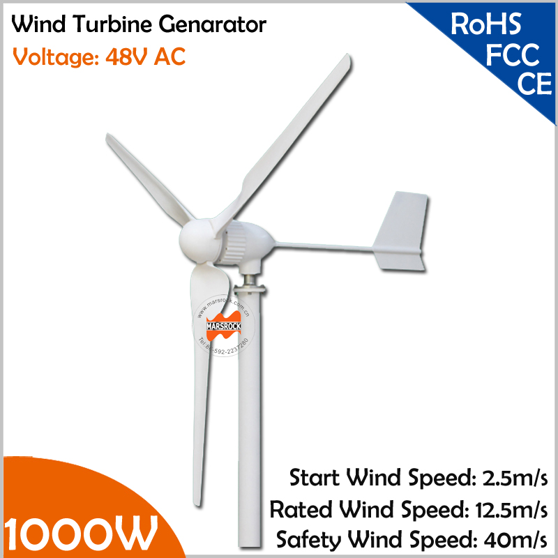Max. 1100W 2.5m/s start wind speed 2.4m wheel diameter three phase 3 blades 1000W 48V wind turbine generator 2 5m s start up wind speed three phase 3 blades 1000w 48v wind turbine generator with 1000w 48v waterproor wind controller