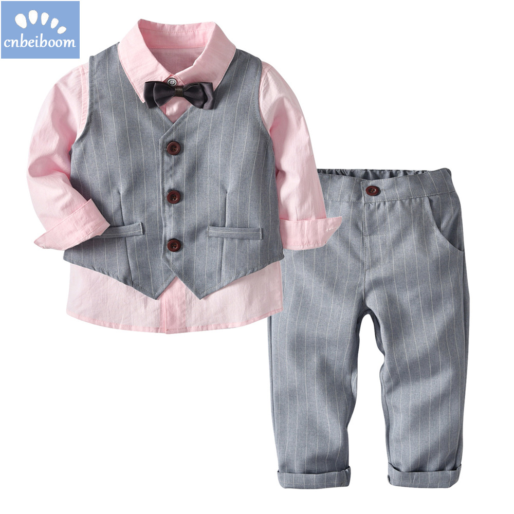 2018 Fashion Children Clothing set Kids Baby Boy Suit Gentleman pink Wedding Formal Autumn Vest Tie Shirt Pant 4pcs clothes sets boys clothing set striped vest pant shirt suits formal outfits kids school uniform baby children wedding party boy clothes sets
