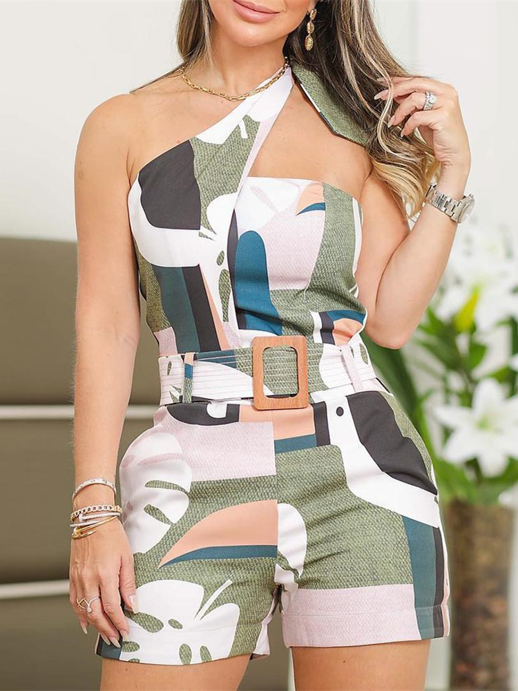 Women Summer Colorful Vacation Holiday Leisure Playsuit Female   Jumpsuit   One Shoulder Knotted Detail Abstract Print Romper