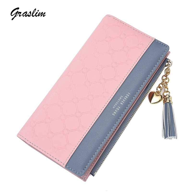 2fef5735671 2019 New Fashion Women's Cute Fashion Purse Leather Long Zip Wallet Coin  Card Holder Soft Leather
