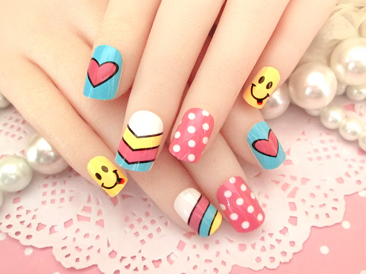 2016 Direct Ing Colorful False Cute Cartoon Nail Art Tips Fake Nails Decoration Patch Manicure Accessory Daily Use In From Beauty