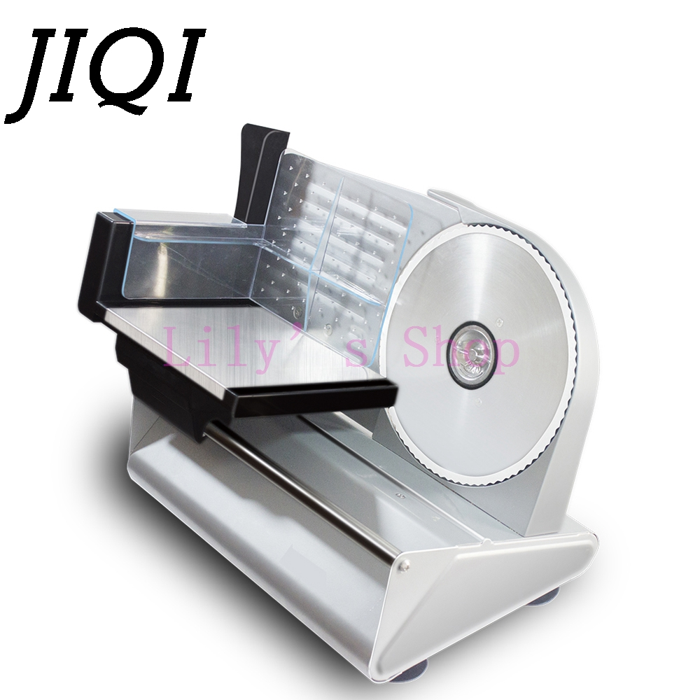 JIQI MINI electric meat slicer mutton roll frozen beef cutter lamb Vegetable cutting machine stainless steel mincer 110V 220V EU meat slicer stainless steel home business mutton volumes sliced beef slices shred meat planing machine