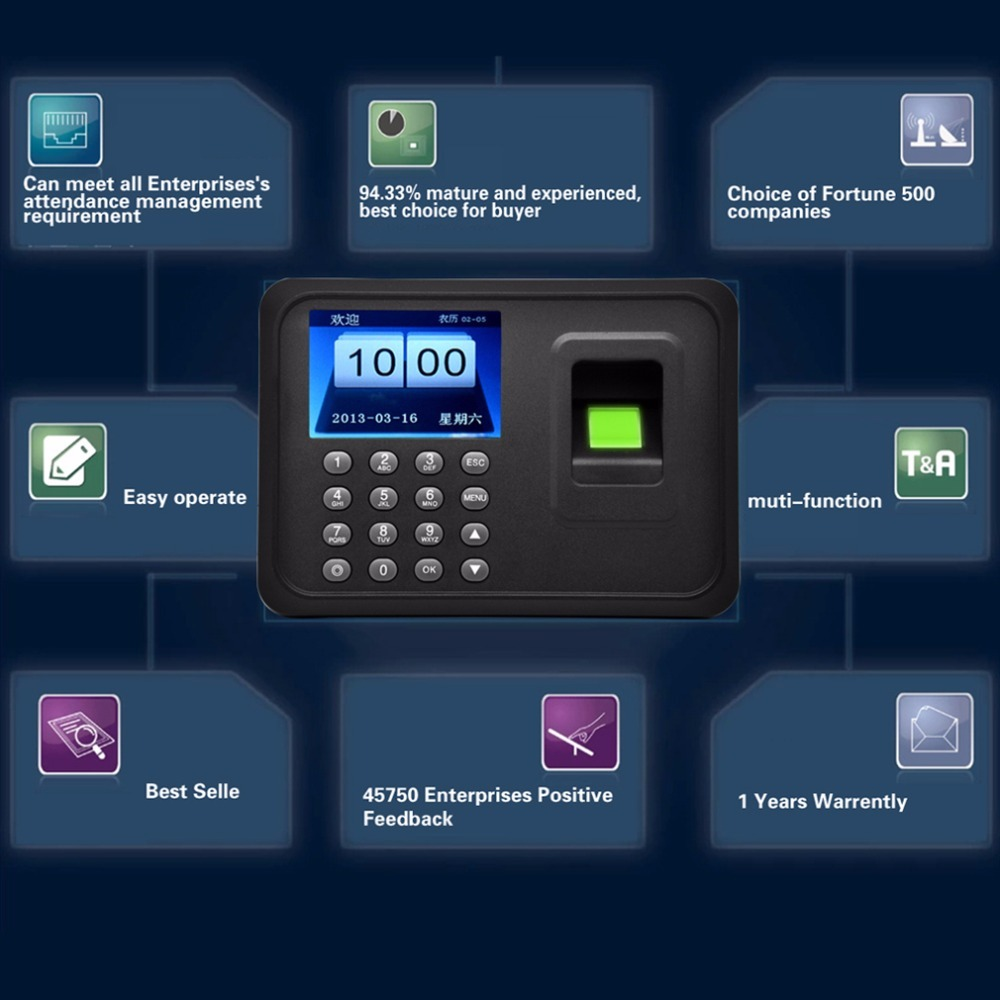 Fingerprint & Password Biometric A6 2.4 inch TFT USB 32bit CPU Fingerprint Time Attendance Machine Clock Record NoNeed SoftwareFingerprint & Password Biometric A6 2.4 inch TFT USB 32bit CPU Fingerprint Time Attendance Machine Clock Record NoNeed Software