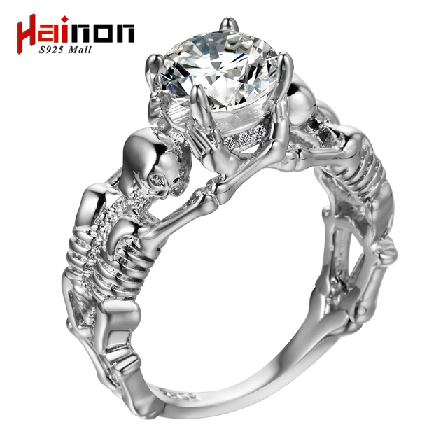 men evil skeleton cz black color skull gothic silver variations vintage women rings for product white design retro