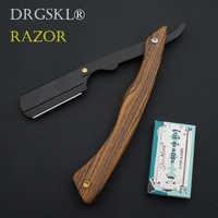 senior sandalwood handle blade shaving razors professional barber shaver eyebrow razor men's replaceable blade razor hair knife