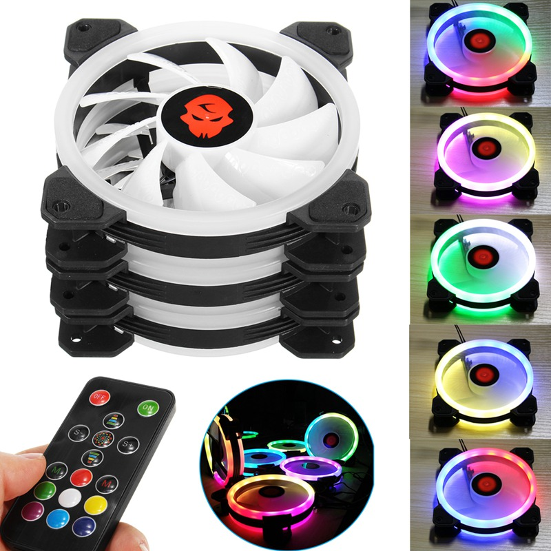 New 3pcs Computer Case PC Cooling Fan RGB Adjust LED 120mm Quiet + IR Remote High Quality Computer Cooling fan cooler For cpu 1u server computer copper radiator cooler cooling heatsink for intel lga 2011 active cooling