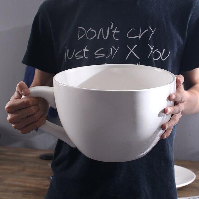 Simple Creative White Extra Large Mug With Saucer Craft Decoration Cafe Bar Restaurant Ornaments Oversized