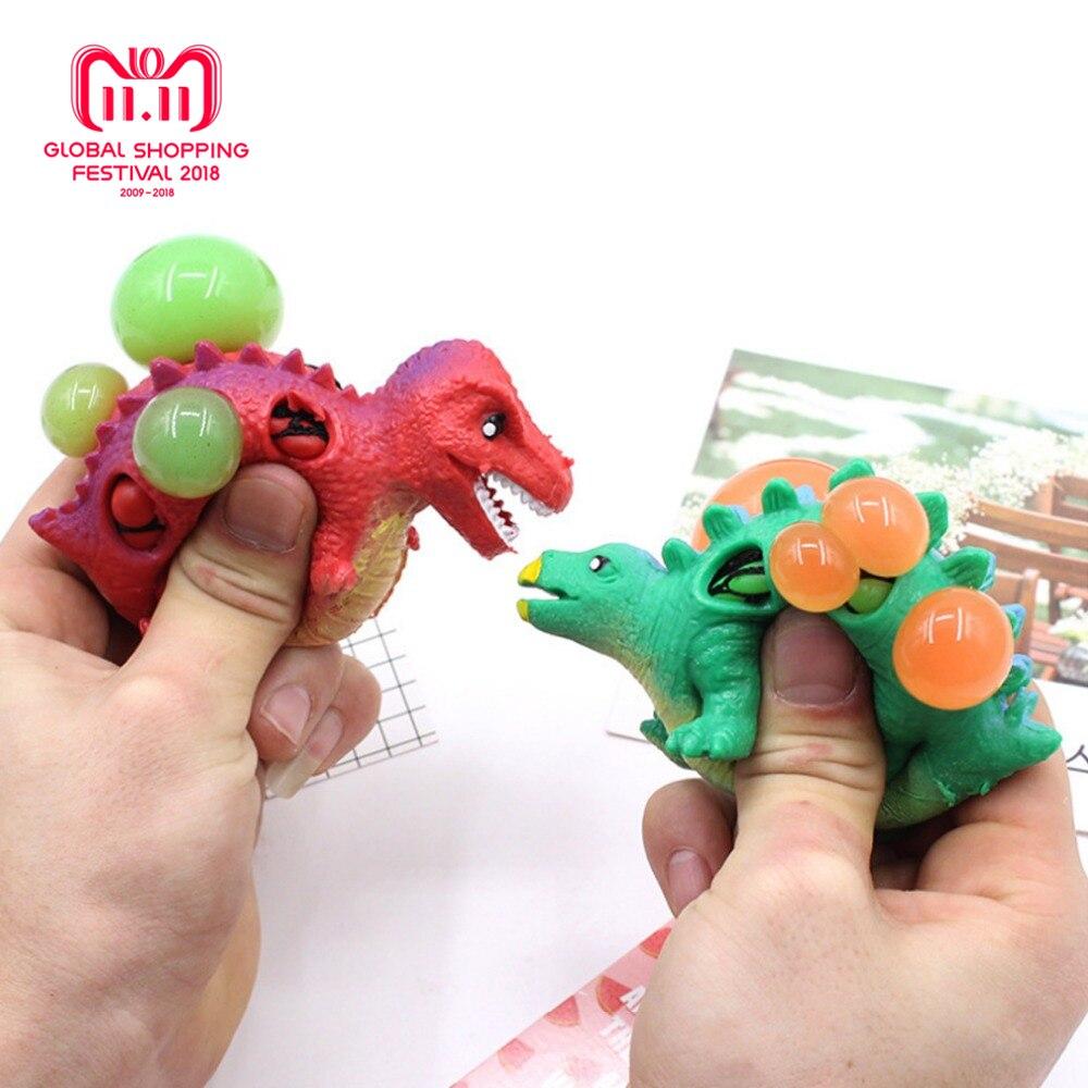1PC Children Pinch Grape Dinosaur Novelty Gag Kids Toys Explode Bead Decompression Relief Grape Ball Tyrannosaurus Color Random