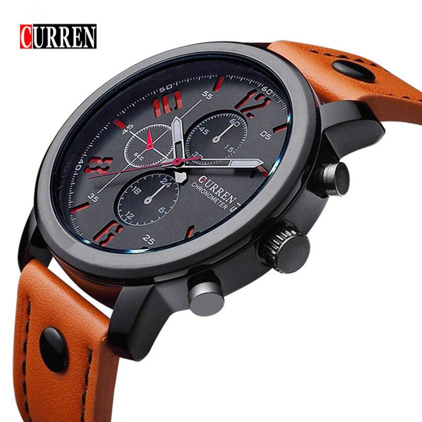 Prix pour CURREN 8192 Hommes Montre Marque De Luxe Sport Quartz-Montre Mode Montres Militaire Bracelet En Cuir Hommes Montre-Bracelet Relogio Masculino