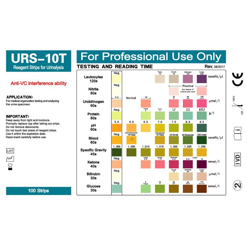 100 Strips URS-10T Urinalysis Reagent Strips 10 Parameters Urine Test Strip  Leukocytes, Nitrite, Urobilinogen, Protein, pH