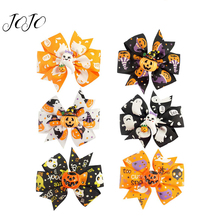 JOJO BOWS 4pcs Party Holiday DIY Decoration Halloween Printed Accessories For Craft Hair Bows Clip Material