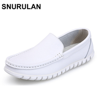 SNURULAN New Four Seasons Fashion Women Pure White Split Soft Comfortable Casual Sewing Breathable Genuine Leather