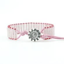 New Bohemia Bracelet Pink Stone Single Vintage Leather Wrap Bracelet Semi Precious Stone Beaded Cuff Bracelet Dropshipping цена 2017