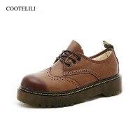 COOTELILI Winter Platform Flat Shoes Women Velvet Fleece Oxford Shoes For Women Korean Footwear Brogue Female Shoes 35 40