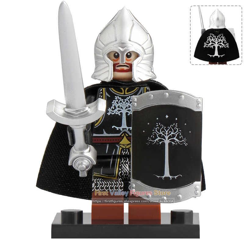 Caballero Medieval Señor de los anillos figura de acción soldado de Gondor lanza espada construcción bloques juguetes para niños KT1014