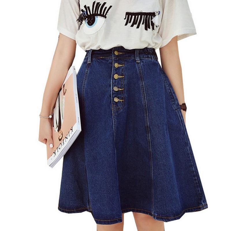 Nyári Retro kék Jean szoknyák vékony magas derék Faldas Mujer - Női ruházat