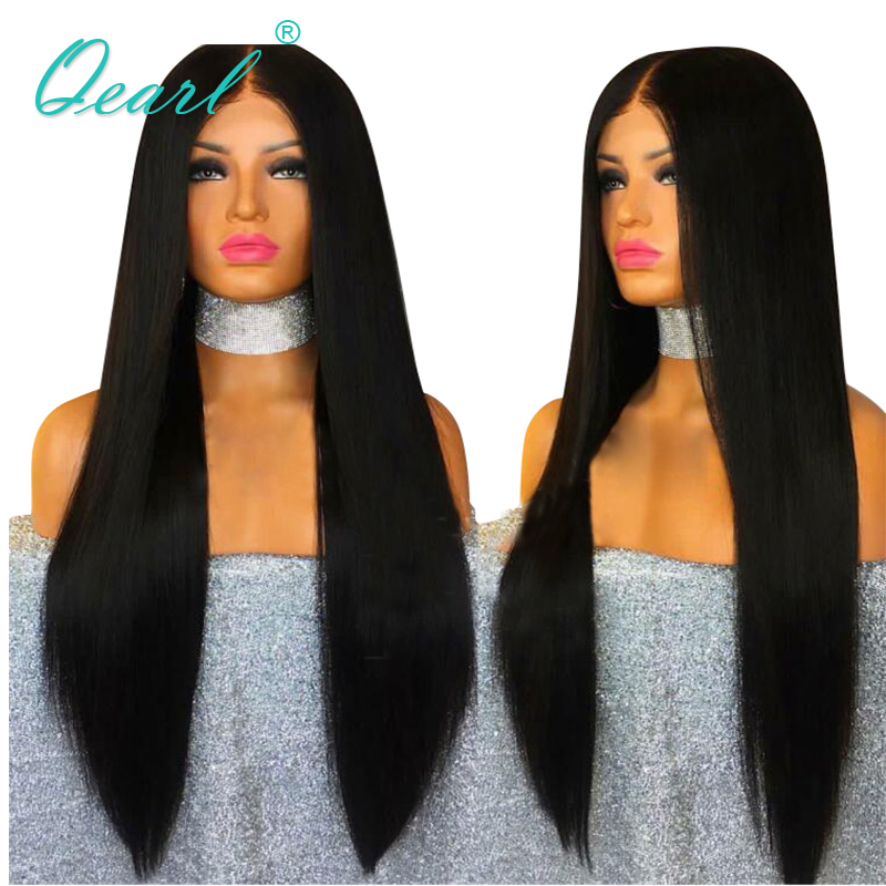 Qearl Longue Dentelle Avant de Cheveux Humains Perruques 22-28in Droite Brésilienne Vierge de Cheveux Sans Colle Dentelle Perruque Moyen Partie Cheveux de Bébé Noir femmes