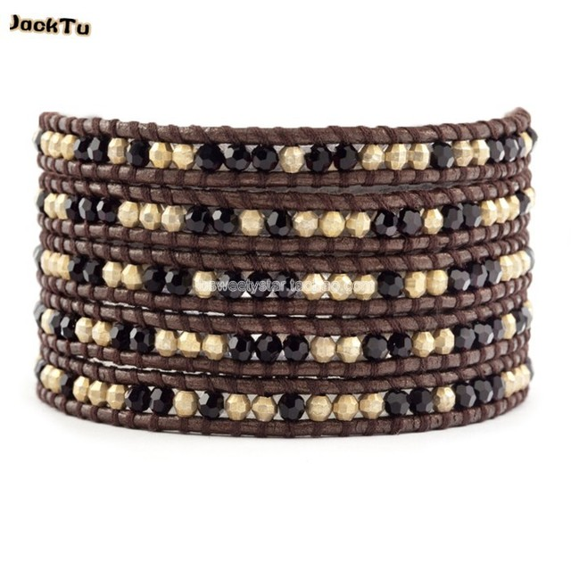2017 black crystal with gold laser beads leather bracelet