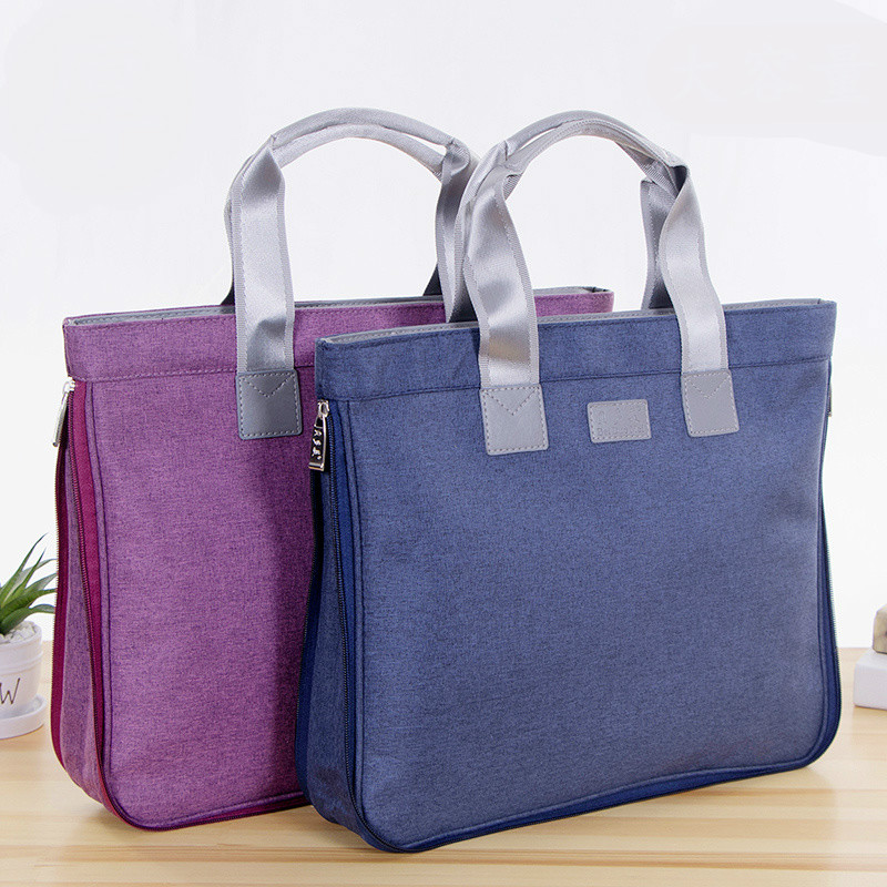 A4 Document Bag Big Capacity Double Layers Zipper Briefcase Fashion Business Portable Handbag Files Folder Pad Laptop Books Tute