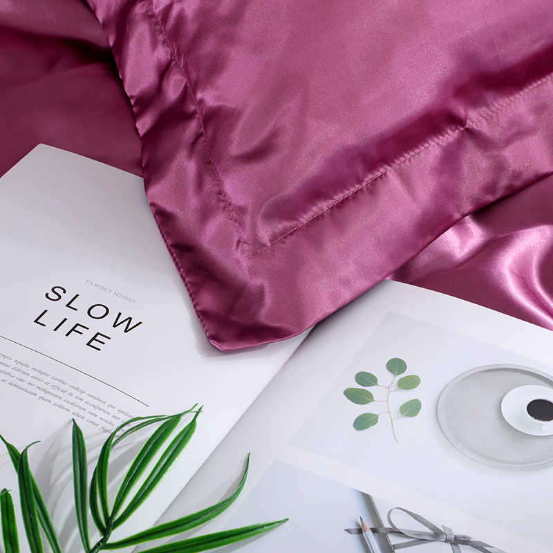 SlowDream Luxury Bed Linens Euro Bedspread Double Queen Size Family Bedclothes Decor Home Bedding Set Pure Satin Silk Adult Bed