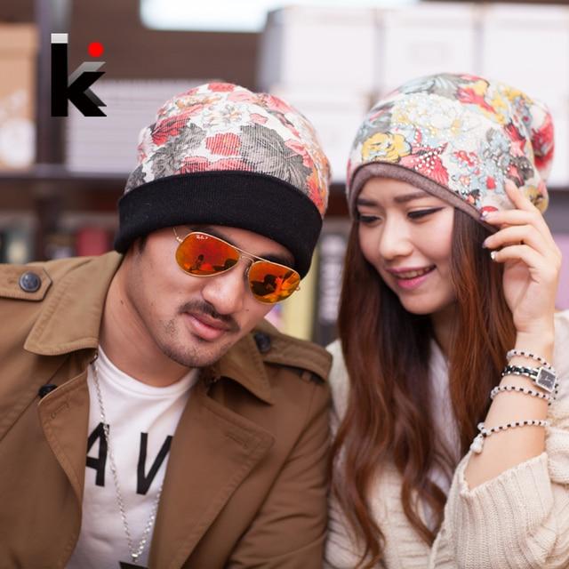 2014 мода шапочки шапка мужская зима для шапки женские шапка двойного назначения крышка женский цветок шапки вязание шерсть теплые шапочки женская