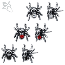 ZS Skull Spider Earring Punk Stainless Steel Stud Earrings for Men 3 Color Cubic Zirconia Earring Hip Hop Jewelry Gothic Earing stylish rhinestone skull stud earring