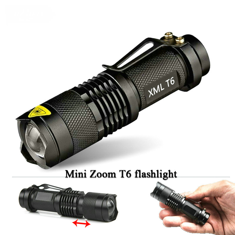 Mini  Zoomable  led T6 flashlight torch cree xm-l 2800 lumens waterproof rechargeable 18650 battery flash light linternas cree xm l2 flashlight 5000lm adjustable zoomable led xm l2 flashlight lamp light torch lantern rechargeable 18650 2chargers z30