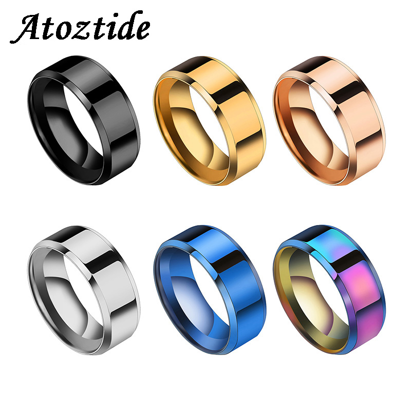 Atoztide Fashion 8mm Black Titanium Stainless Rings For Women Men Party Round Wedding Band Lovers/Couple Rings Jewelry Gift
