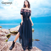 Vintage Floral Embroidery Bohemian Dress Slash Neck Ankle Length Elastic Waist 2019 Summer Style Beach Chiffon Dress Women
