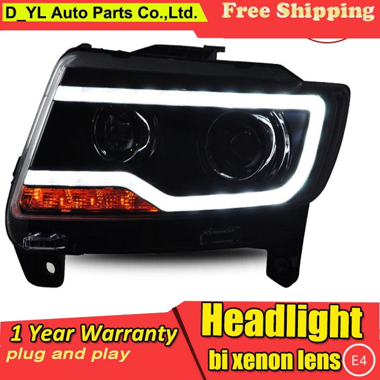 D YL Car Styling for Jeep Compass Headlights 2011 2015 Compass LED Headlight DRL Lens Double