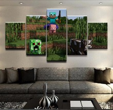 Monster War Zone Minecraft Game 5 Pieces Print Poster Canvas Painting Wall Art Living Room Modern HD Home Decor