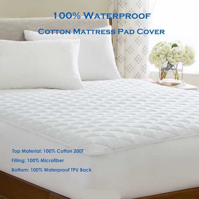 Queen 150x200cm Quilted Cotton Mattress Pad Cover For Bed Protection Waterproof Matress Foam