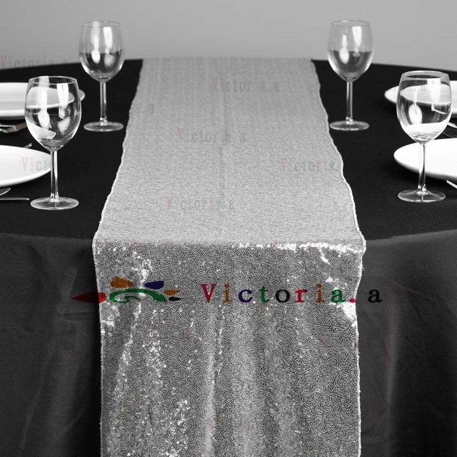 Perfect 30cm By 183cm Silver/Gold Sequin Table Runner For Wedding