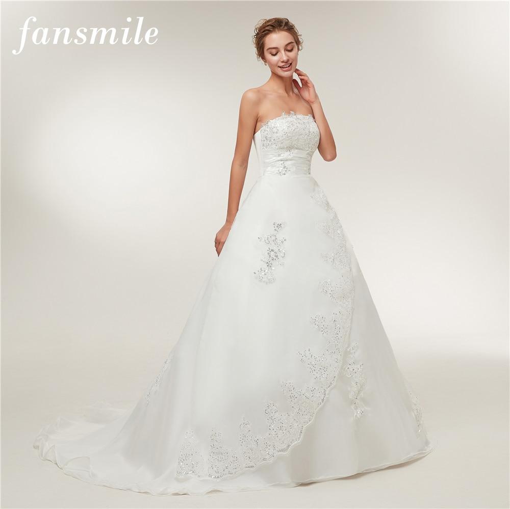 Fansmile Cheap Vintage Lace Long Train Wedding Dresses 2017 Bridal Gowns Vestidos Plus Size Bridal Dress Free Shipping FSM-117T