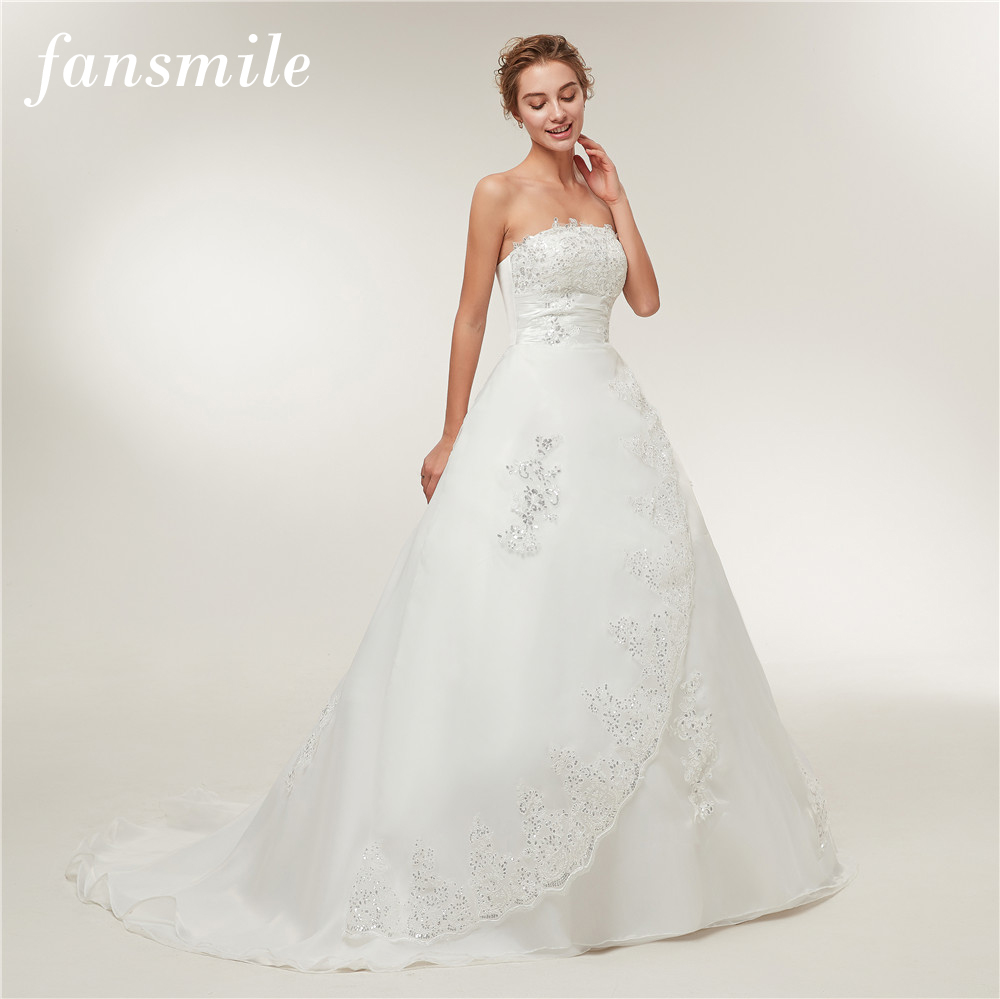 Image 2 - Fansmile Cheap Vintage Lace Long Train Wedding Dresses 2019 Bridal Gowns Vestidos Plus Size Bridal Dress Free Shipping FSM 117T-in Wedding Dresses from Weddings & Events