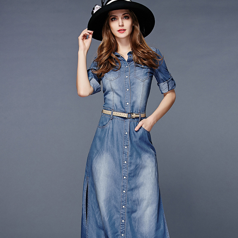 Spring and Autumn side slit three quarter belt waist design denim dress women s fashion long